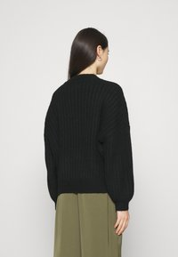 Even&Odd - OVERSIZED WIDE RIB JUMPER - Jumper - black
