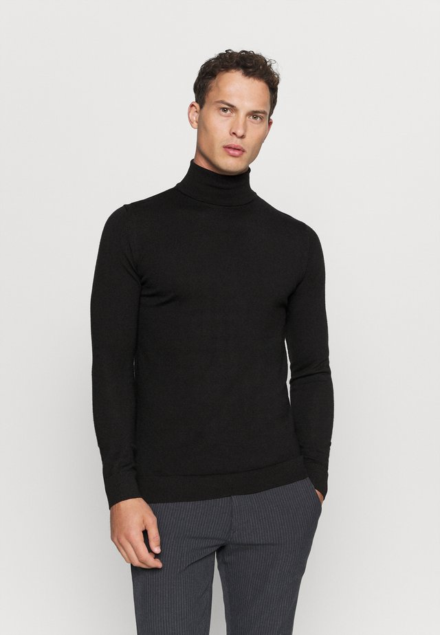 JOHANNES ROLL NECK - Strikkegenser - black