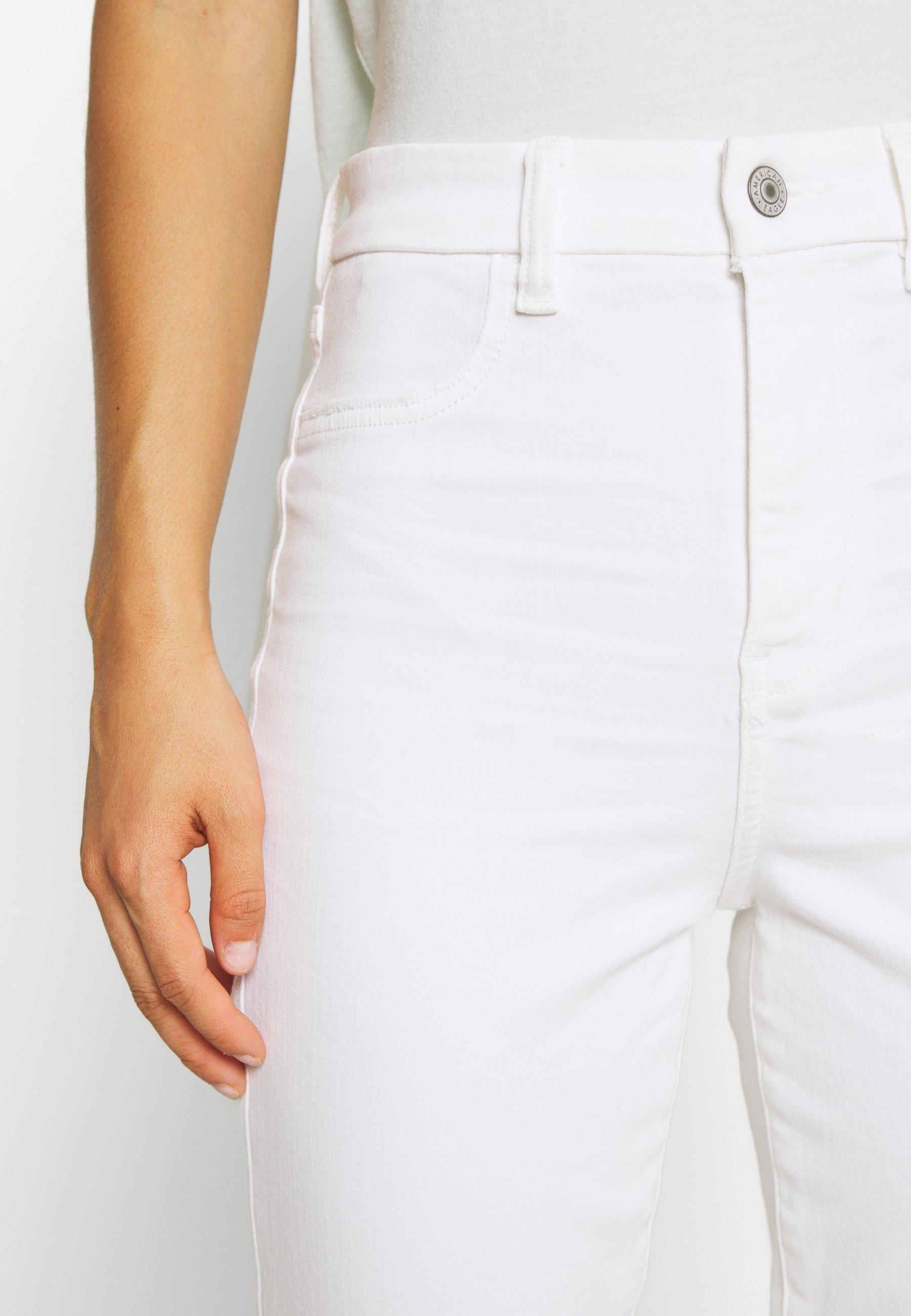 American Eagle CURVY SUPER HIGH RISE CROP - Jeans slim fit - bright white
