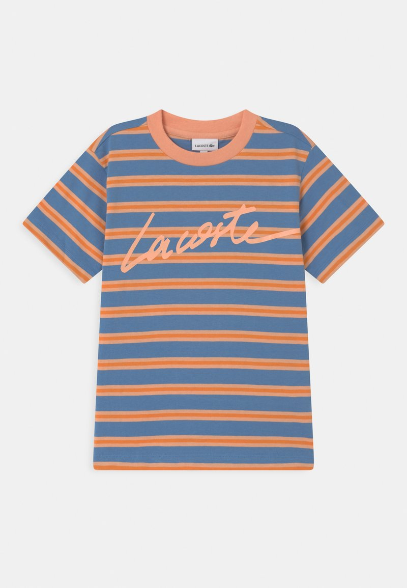 Lacoste - T-shirt med print - turquin blue/ledge/lantern orange
