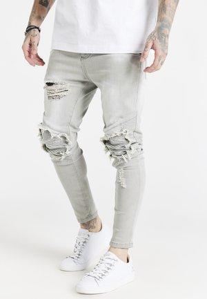 RAW HEM BIKER - Slim fit jeans - washed grey