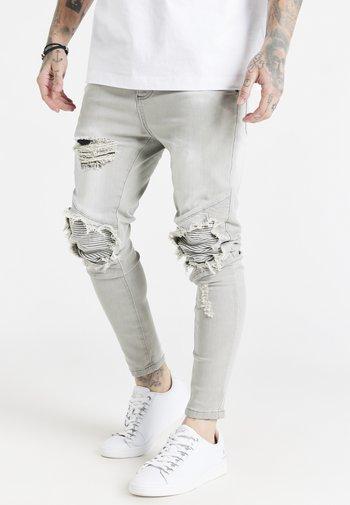RAW HEM BIKER - Slim fit -farkut - washed grey