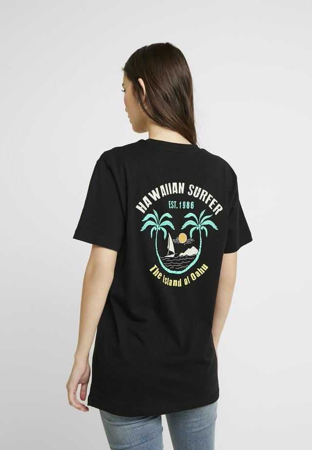 LADIES HAWAIIAN SURFER TEE - T-shirt imprimé - black