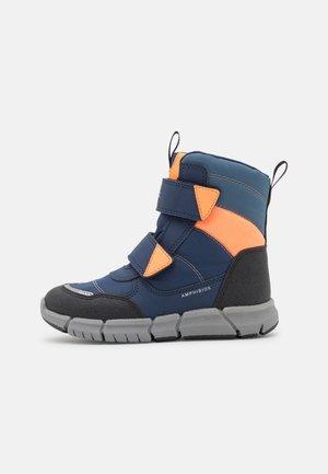 J FLEXYPER BOY ABX - Bottes de neige - navy/fluo orange