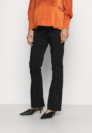 PANTS FLARED - Trousers - black
