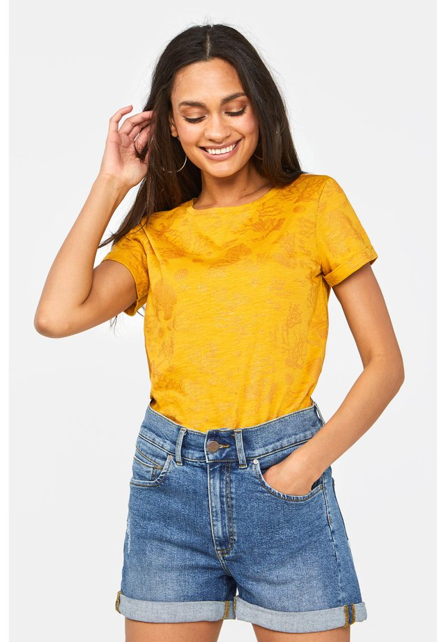 MIT GLITZERMUSTER - T-shirt print - ochre yellow
