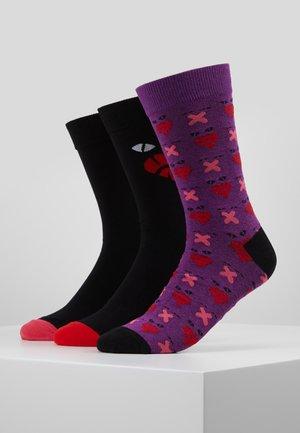 SKM-HERMINE-THREEPACK SOCKS 3 PACK - Socks - black/purple/red/pink
