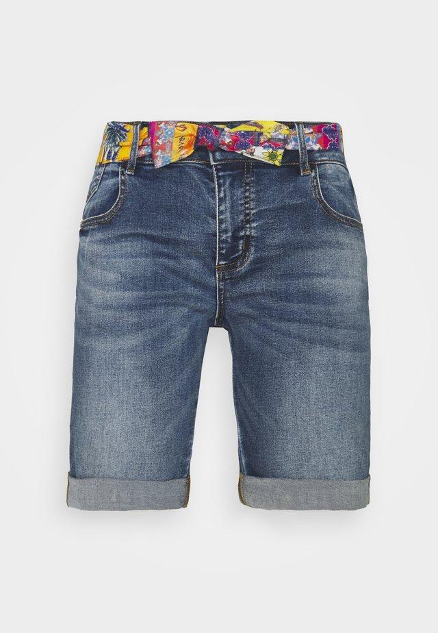 FOULARD SHORT - Denim shorts - blue