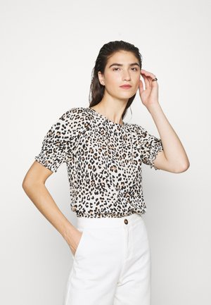 NEAUTRAL ANIMAL SHIRRED CUFF - Blouse - black