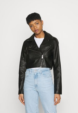 CROP BIKER JACKET - Faux leather jacket - black