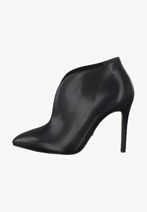 High heeled ankle boots - black leather