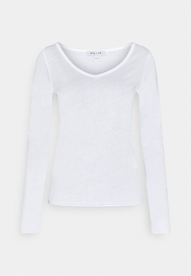 ROLL HEM LONG SLEEVE TOP - Long sleeved top - white