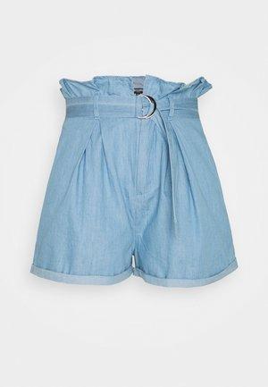 PAPERBAG WAIST - Jeans Shorts - blue