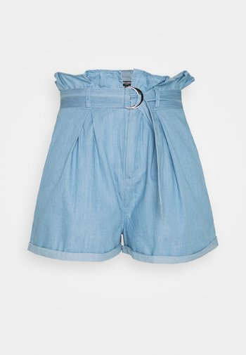PAPERBAG WAIST - Denim shorts - blue