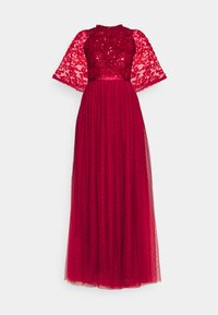 SEQUIN RIBBON BODICE MAXI DRESS - Occasion wear - deep red