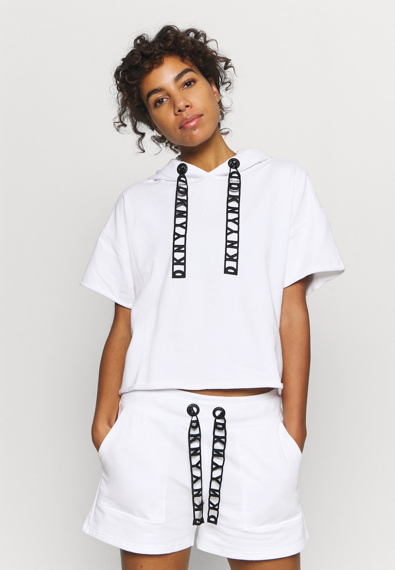 DKNY - LOGO LACE DRAWCORD CROPPED SHORT SLEEVE HOODIE - Sweatshirt - white