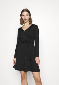 Object - OBJSAVA L/S V-NECK NOOS - Day dress - black - 0