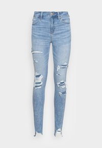 American Eagle - HI RISE - Jeggings - shadow patched blues - 3