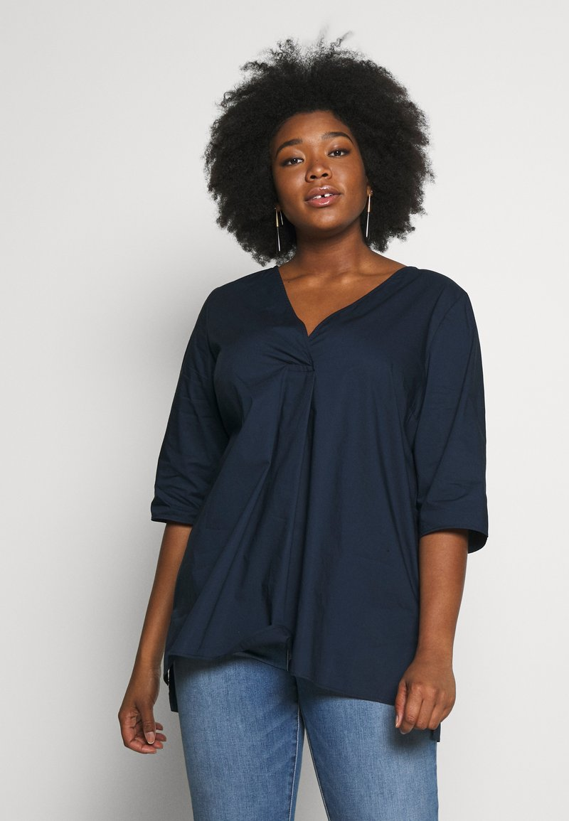 MY TRUE ME TOM TAILOR - LOOSE FIT BLOUSE PLEAT - Bluser - real navy blue