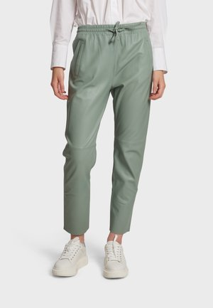 GIFT - Leather trousers - celadon green