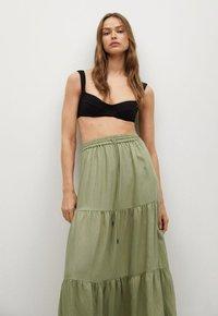 Mango - BAMBU - Maxi skirt - khaki - 0