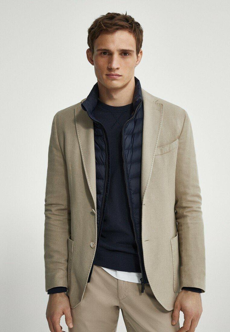Massimo Dutti - SLIM FIT - Blazer jacket - beige