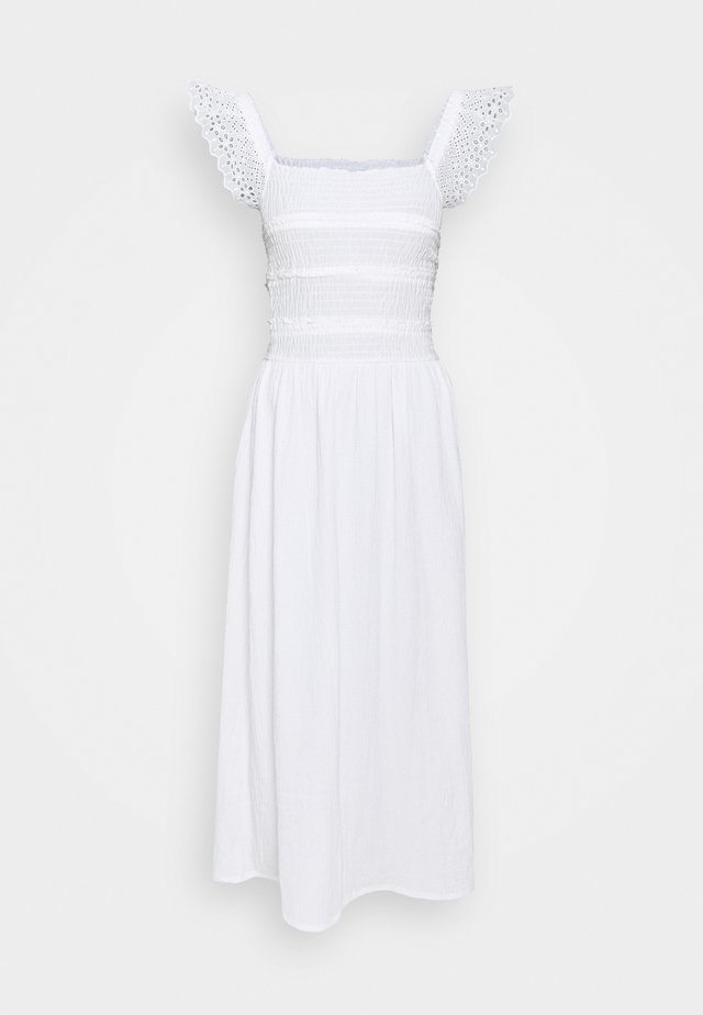 BROD SHIRRED DRESS - Denní šaty - white