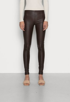 SFSYLVIA STRETCH - Leather trousers - carafe