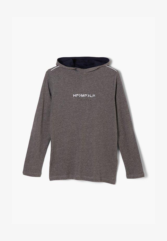MIT WORDING-PRINT - Hoodie - dark grey melange