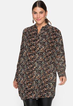 Button-down blouse - schwarz bedruckt