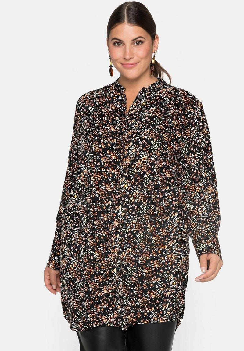 Sheego - Button-down blouse - schwarz bedruckt