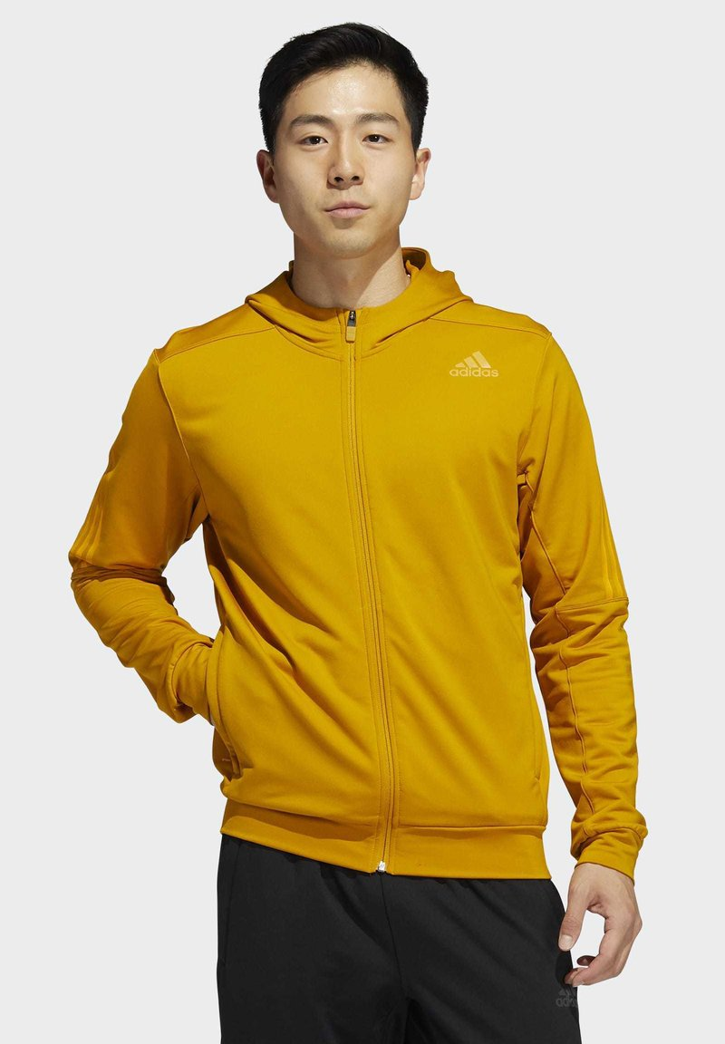adidas Performance - AEROREADY 3-STRIPES COLD WEATHER KNIT HOODIE - Sudadera con cremallera - gold