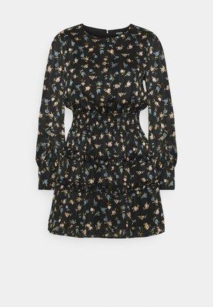 FLORAL SHIRRED WAIST MINI DRESS - Robe d'été - black