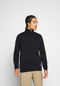 Jack & Jones - JORELI HIGH NECK ZIP - Svetr - dark blue - 0