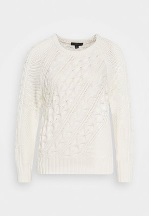 DIAGONAL CABLE RAGLAN - Jumper - ivory