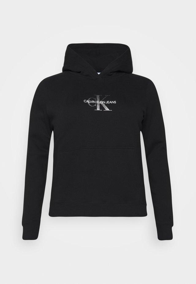 GLITTER MONOGRAM HOODIE - Sweatshirt - black