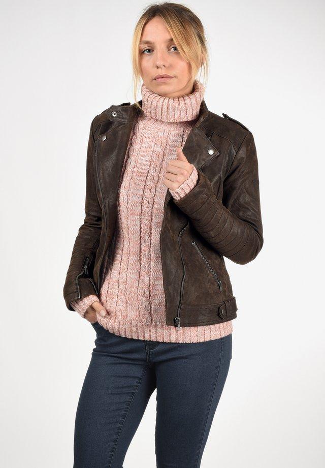 ZALLA - Leather jacket - tabacco