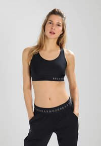 Under Armour - MID KEYHOLE BRA - Sujetador deportivo - black - 0