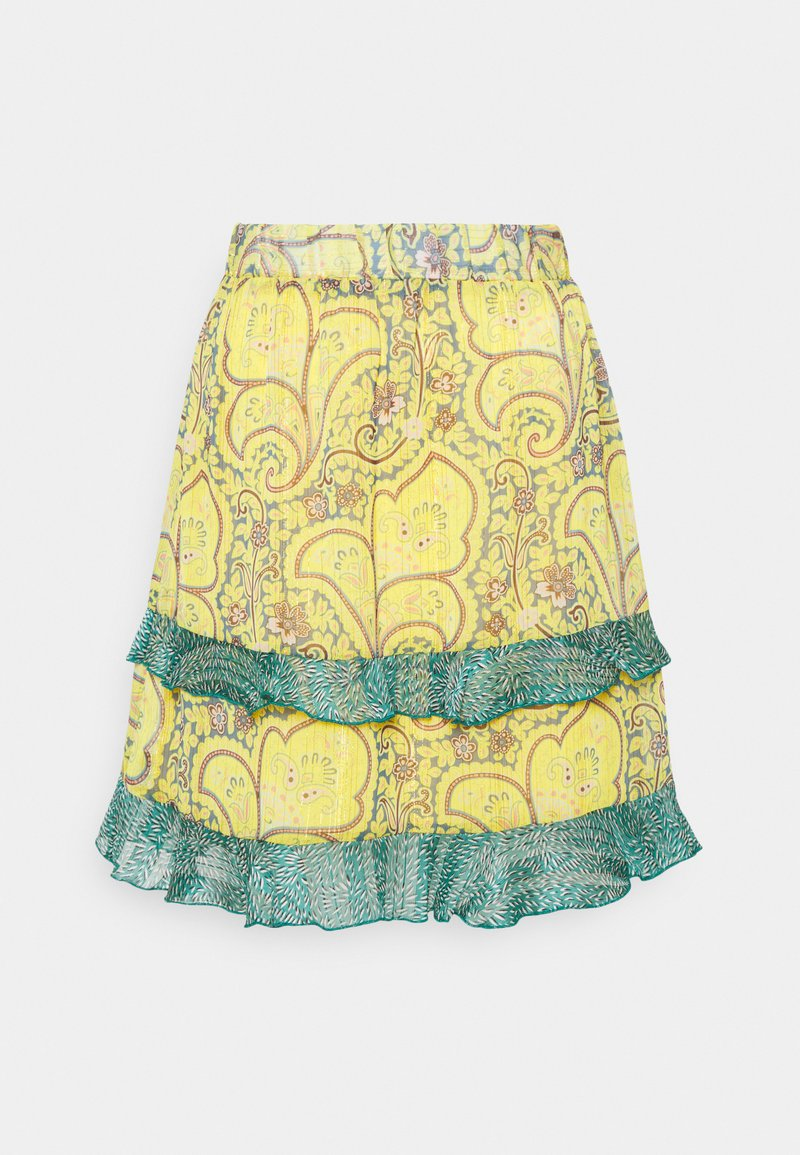 Esqualo - SKIRT SHORT PAISLEY LAYERS - A-line skirt - yellow
