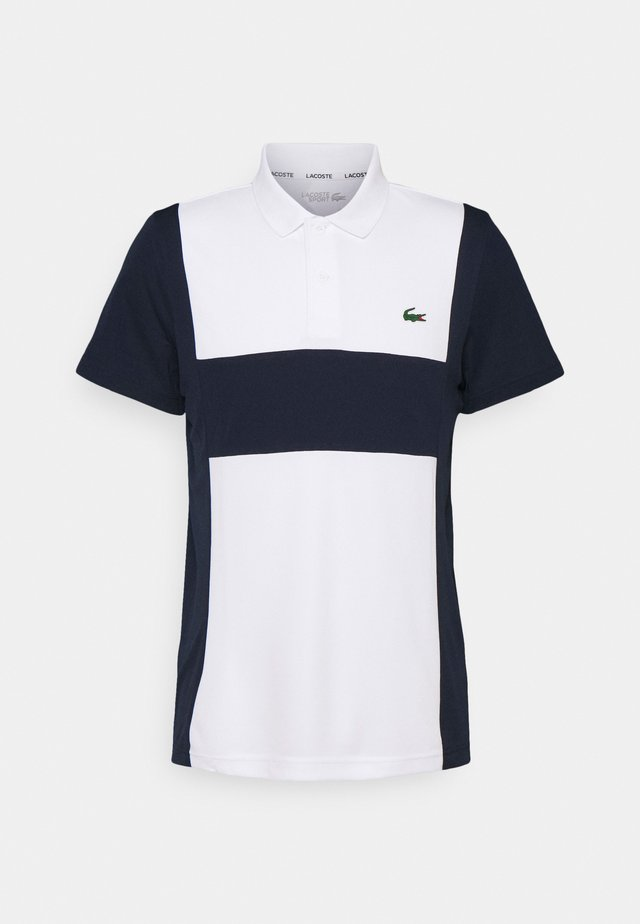 TENNIS BLOCK - Poloshirt - white/navy blue
