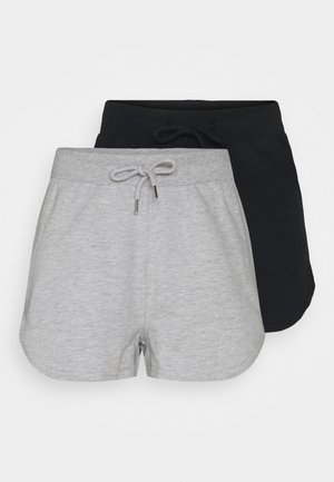 2 Pack sweat shorts - Kraťasy - black/mottled light grey