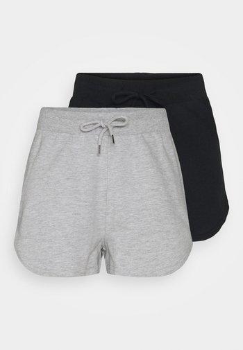 2 Pack sweat shorts - Kraťasy - black/mottled light grey