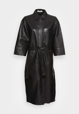 DRESS TURN-DOWN COLLAR PATCHED POCKET BELTED - Blousejurk - black