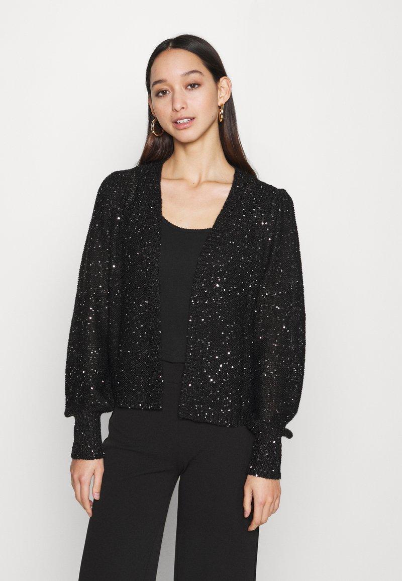 Vero Moda - VMLEILANI V NECK CARDIGAN - Cardigan - black/silver