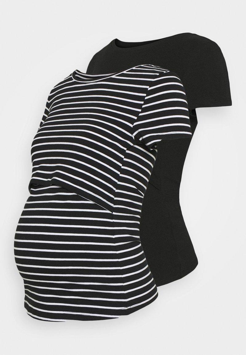 Anna Field MAMA - 2 pack NURSING FUNCTION t-shirt - T-shirts print - black