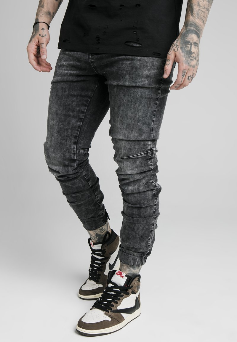 SIKSILK - ELASTICATED CUFF - Jeans slim fit - washed grey