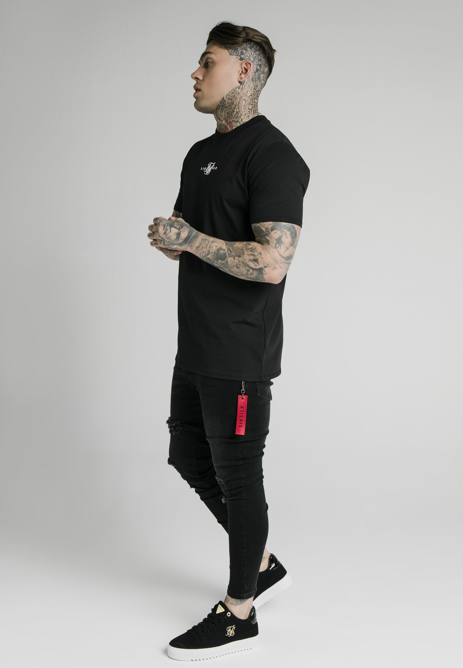 Siksilk Distressed With Zip Detail - Jeans Skinny Fit Washed Black/svart