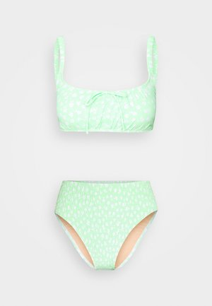 ROUCHED HIGHWAISTED CHEEKY BIKINI SET - Bikini - mint