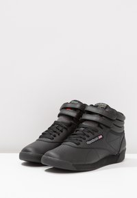 Reebok Classic - FREESTYLE HI LIGHT SOFT LEATHER SHOES - Sneakers high - black - 4