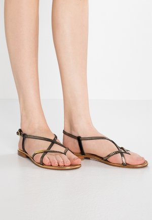 MONACO - T-bar sandals - black/gold